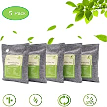Air Purifying Bags Activated Bamboo Charcoal Natural Air Purifier Freshener Neutralizer Filter Odor Remove Eliminator Deodorizer Moisture Absorber for Home, Car, Closet, Bathroom, Basement, Litter Box, Shoe (5 Pack, 200g Each)