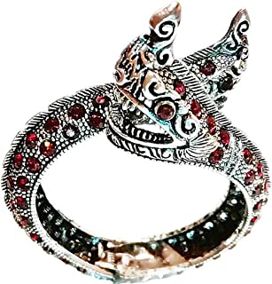 Silver Plated Bracelet Thai 2 Headed Dragon Naga Snake Red Color Stone Red Eyes Amulet Bangle Men Women 1 Piece