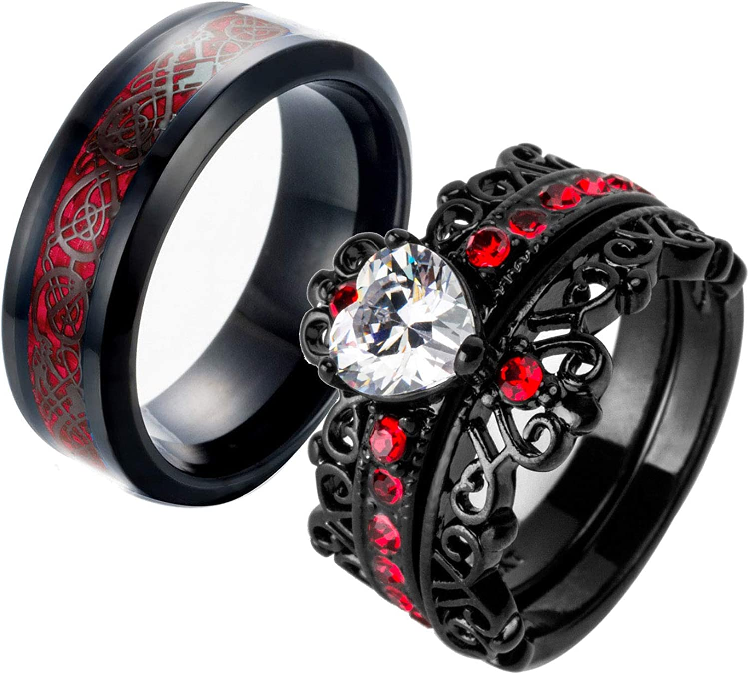 Ringcrown Couple Rings Black Plated Heart Red Cz Womens Wedding Ring Sets Crown Ring Titanium Man Wedding Bands(Please Buy 2 Rings for 1 Pair)