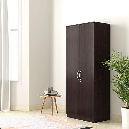 Amazon Brand - Solimo Medusa Engineered Wood Wardrobe Wenge finish , 2 Doors