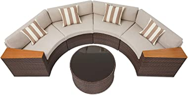 SOLAURA Outdoor 5-Piece Sectional Furniture Patio Half-Moon Set Brown Wicker Conversation Sofa Set with Beige Cushions &