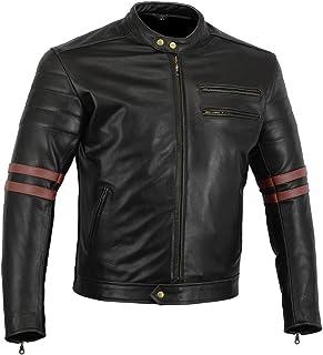 "Bikers Gear, Motorrad Lederjacke ""The Rocker"", Schwarz, Café Racer Jacke, CE Vestärkung, PU verstärkt, Größe: L, CE1621–1"