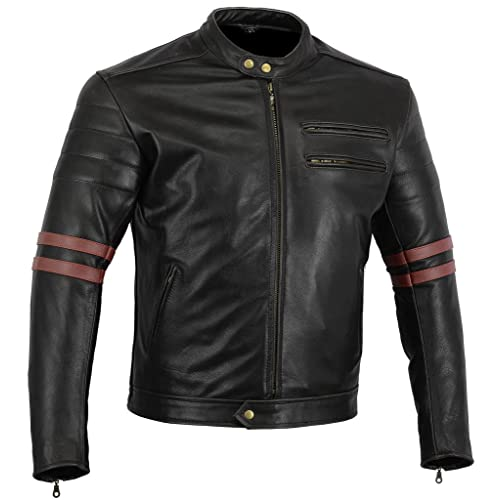 90194ba1 Bikers Gear The Rocker Motorcycle Black Leather Cafe Racer Jacket CE1621-1  PU Armour,