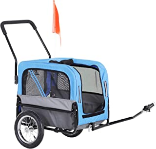 PawHut Dog Bike Trailer 2-in-1 Pet Stroller Cart Bicycle Wagon Cargo Carrier Attachment for Travel with 360 Swivel Wheel, ...