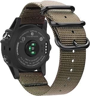 Fintie Band for Garmin Fenix 6X / Fenix 5X Plus/Tactix Charlie Watch, 26mm Premium Woven Nylon Adjustable Replacement Strap for Fenix 6X 5X/5X Plus/3/3 HR/Tactix Charlie Smartwatch - Desert Tan