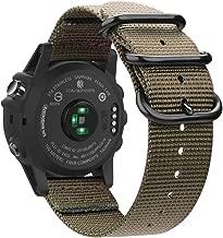 Fintie Band for Garmin Fenix 5X Plus/Tactix Charlie Watch, 26mm Premium Woven Nylon Adjustable Replacement Strap for Fenix 5X/5X Plus/3/3 HR/Tactix Charlie Smartwatch - Desert Tan