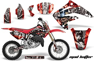 AMR Racing MX Dirt Bike Graphic Kit Sticker Decals Compatible with Honda CR85 2003-2007 - Mad Hatter Silver Red