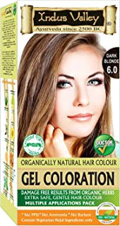 Indus Valley Gel Hair Color Dark Blonde 6.0 No PPD, No Ammonia, No Hydrogen Peroxide, No Barium with Refreshing Orange Aroma & Gives color in just 30 minutes (Upto 4 applications)