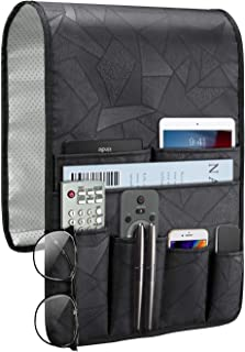 SITHON Sofa Armrest Organizer Remote Holder – [Non Slip] Stain Resistant Couch Recliner Armchair Caddy with 7 Pockets for Magazine, Books, TV Remote Control, Cell Phone, iPad, Glasses, Black