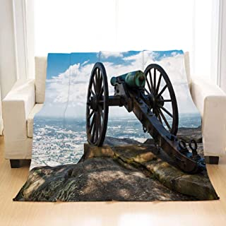 BEIVIVI Personality Design Home Soft Throw Blanket Civil War era Cannon ATOP Lookout Mountain overlooks Chattanooga Tennessee Flannel Blanket Perfect for Couch Sofa Or Bed
