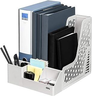 Deli Magazine File Book Holder Desktop Organizer Vertical Folder with Pencil Holder and Storage Baskets for Desk Accessories, 3 Compartments, White