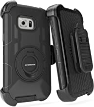 BENTOBEN Galaxy S6 Edge Plus Case, Dual Layer Shockproof Heavy Duty Rugged with Kickstand Belt Clip Holster Hybrid Silicone Phone Full Body Protective Cover for Samsung S6 Edge Plus, Black