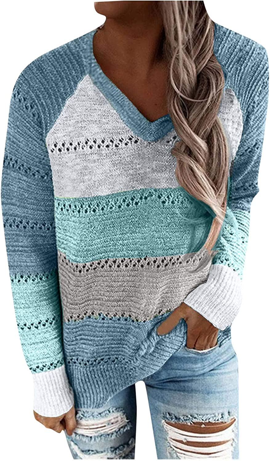 Sweaters for Women Crochet Color Block Fashion Casual Tops V/O Neck Zipper/Drawstring with Hat Tunic