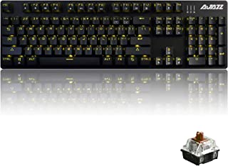 Ajazz AK50 Mechanical Keyboard with Brown Switches, 104 Standard Keys Classic Layout, Anti-Ghosting Professional Gaming Keyboard, Yellow LED Backlit, Black