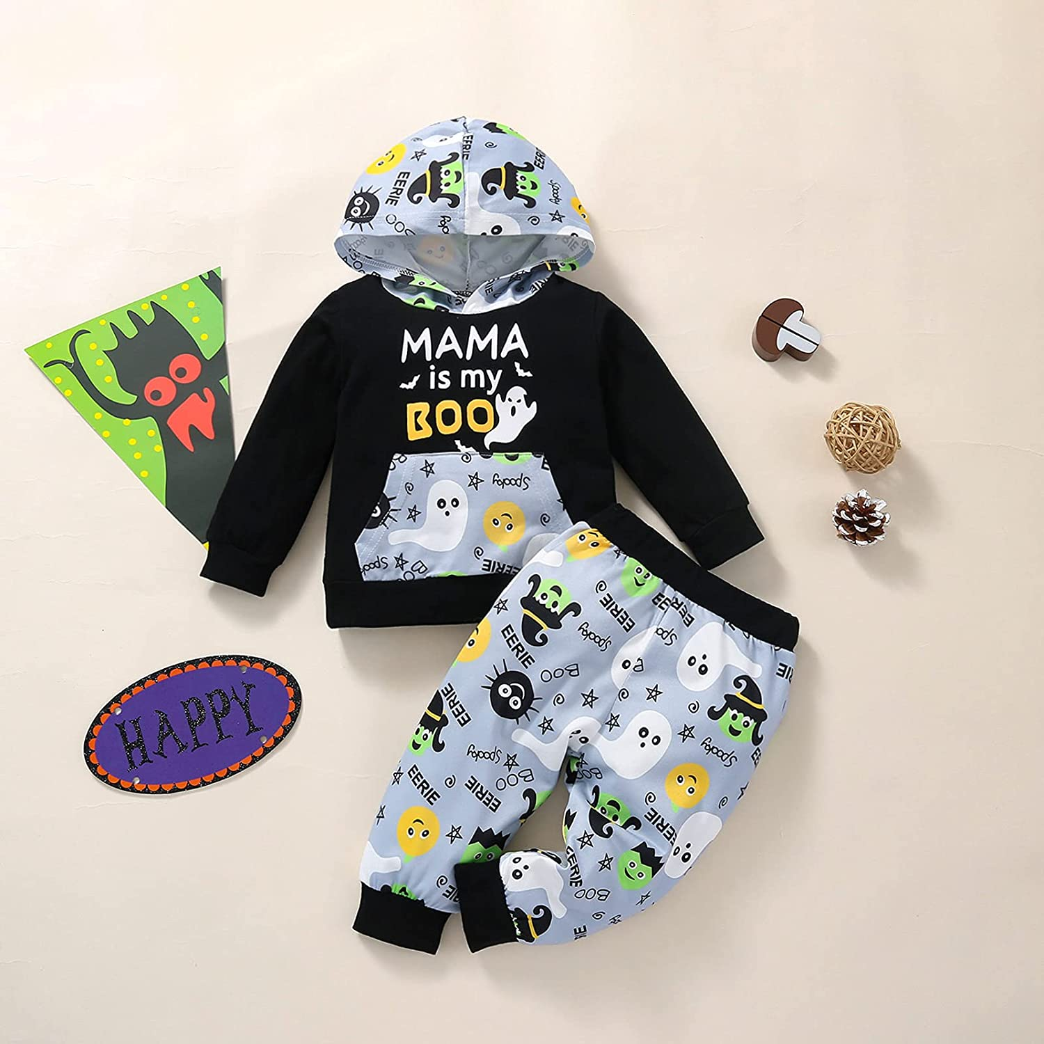 Toddler Infant Baby Boys Girls Ghost Pumpkin Print Outfit Set Halloween Elements Long-Sleeved Hooded Suit