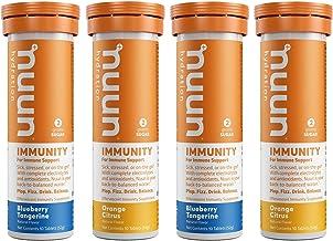 Nuun Immunity: Antioxidant Immune Support Hydration Supplement with Vitamin C, Zinc, Turmeric, Elderberry, Ginger, Echinacea, and Electrolytes. Blueberry Tangerine+Orange Citrus, 4 tubes (40 servings)