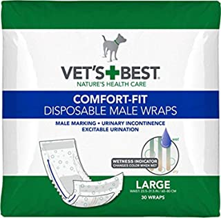 Vet'S Best Comfort Fit Disposable Male Dog Diapers | Absorbent Male Wraps with Leak Proof Fit | Large, 30Count