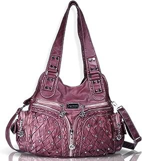 Roomy Fashion Hobo Womens Handbags Ladies Purse Satchel Shoulder Bags Tote Washed Leather Bag Red Mahogany