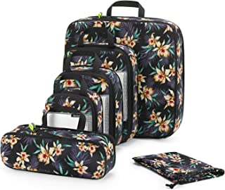 Gonex 6pcs Travel Compression Packing Cubes Set, Extensible Storage Mesh Bags, Water Repellent Polyester Flower Printed Tr...