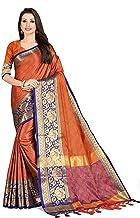 pawaly Women's Banarasi Silk Rose Design Blend Saree With Un-stitched Blouse Piece