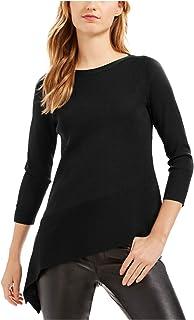 ANNE KLEIN Womens Black 3/4 Sleeve Jewel Neck Sweater AU Size:18