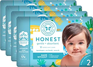 The Honest Company Baby Diapers with Trueabsorb Technology, Yellow Submarines, Size 2, 128 Count