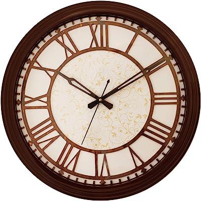 eCraftIndia Round Wooden Analog Wall Clock (38 cm x 38 cm, Brown)
