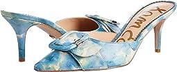Blue Multi Shibori Print Nappa Leather