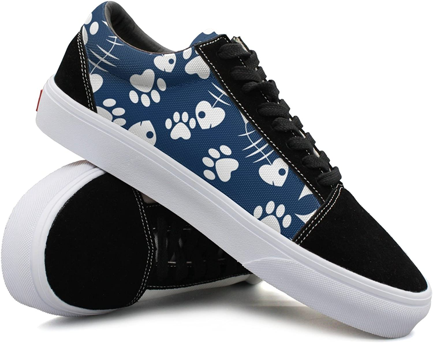 Womens Cat S Paw And Fish Fashionable Canvas shoes Women