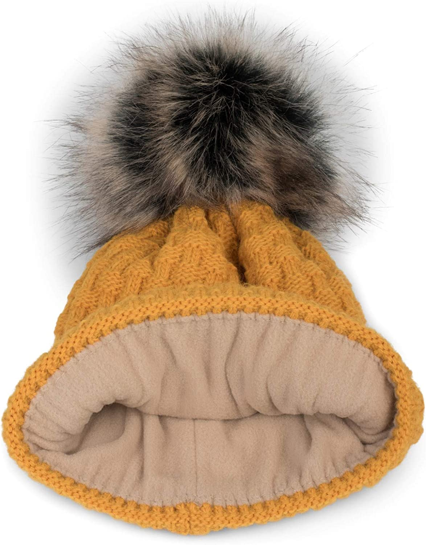 Winter Fellbommel M/ütze 04024171 styleBREAKER Unisex warme Strick Bommelm/ütze mit Flecht Muster und Fleece Futter