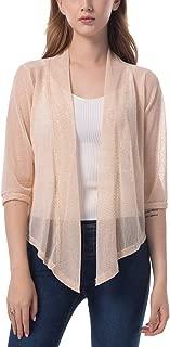 Women's Tie Front 3/4 Sleeve Shrug Sheer Wrap Cropped Bolero Top Thin Cardigan