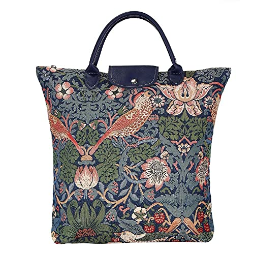Signare Blue Floral William Morris Strawberry Thief Tapestry Fold-able  Reusable Grocery Shopping Bag ( dddb7b6eeb495