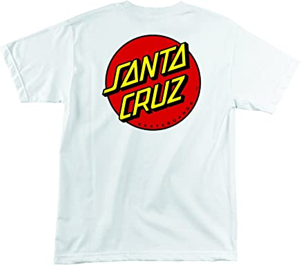 9ed854eb8 Santa Cruz Skateboards Classic Dot Short Sleeve T-Shirt (Large, White)