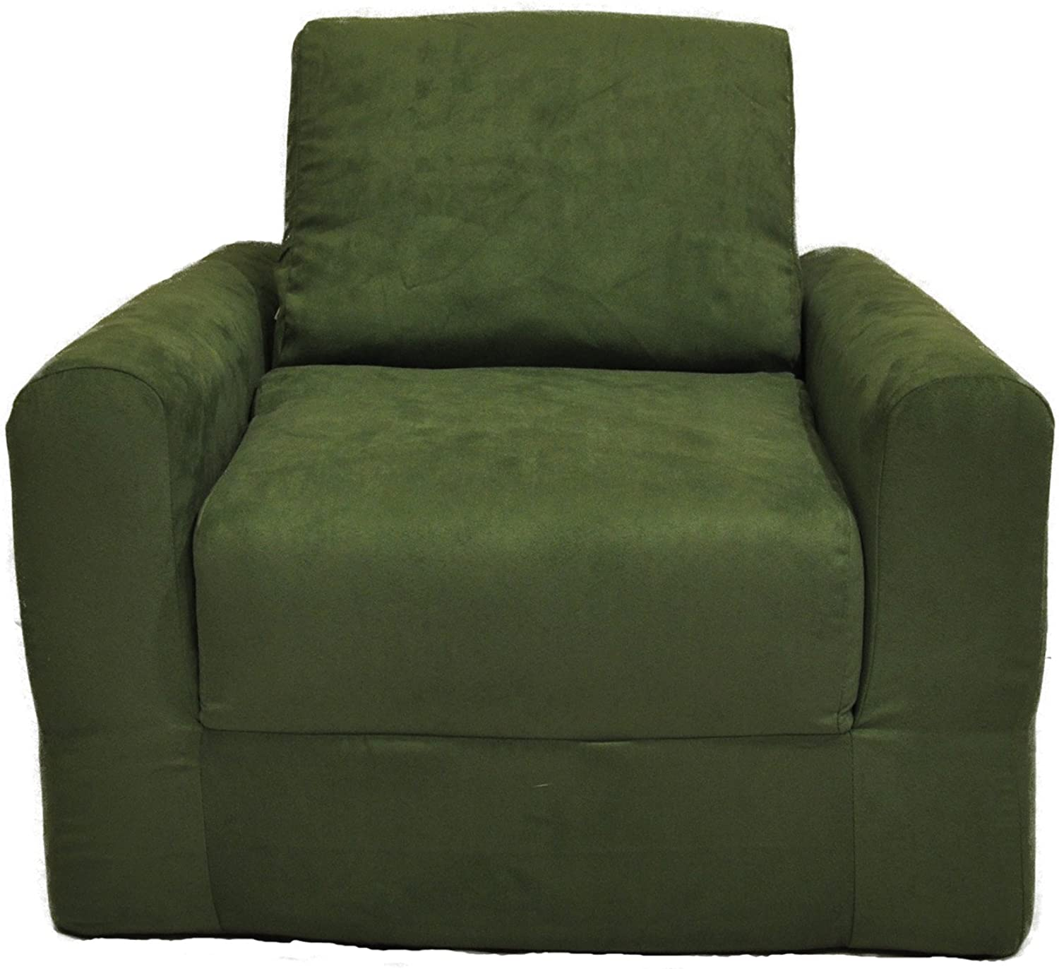 Fun Furnishings Kid's Chair Sleeper, Green Micro Suede