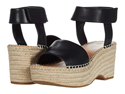 FRYE AND CO. Amber Espadrille Wedge (Black Waxed Leather) Women
