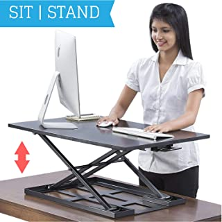 Standing Desk Converter - Standup Ergonomic Height Adjustable Desktop Workstation - 32 X 22 Inch Extra Large Sit Stand Desk Riser for a Dual Monitor Setup - Table Jack