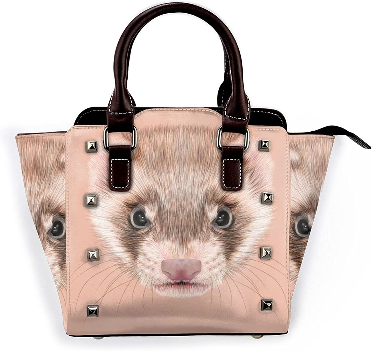 Ferret Brown Face Leather Rivet Micro New Orleans Mall Purse Indianapolis Mall Handbag Shoulder Bag