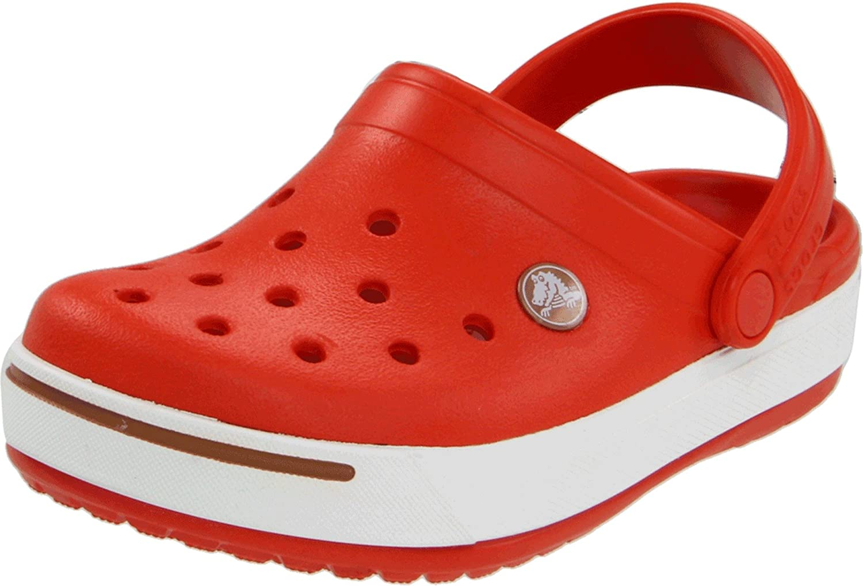 Crocs Kids' Crocband II Clog , Black/White, 10-11 Toddler