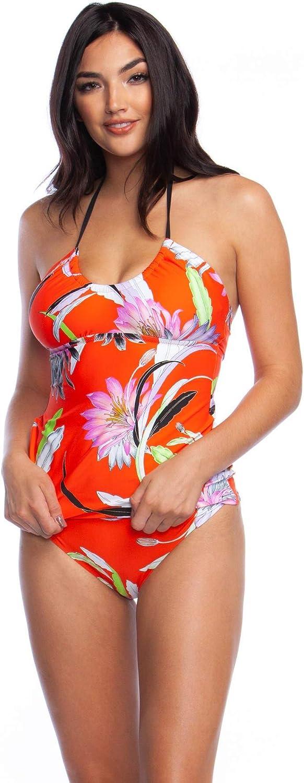 Trina Turk Women's Halter Tankini Swimsuit Top Swimwear, Flame//Shangri la Floral, 4