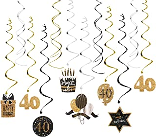 40th Birthday Decoration with Hanging Swirls (15PCS), Celebrate 40 Hanging Swirls with Cutouts(8PCS), Table Décor Star Confetti (100 PCS) and 40th Confetti (100 PCS) for Party Supplies