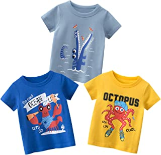 Kumary Boys 3-Pack T-Shirts,Toddler Little Boys Dinosaur Car Short Sleeve Crewneck T Shirts Top Tee Size for 2-6 Years