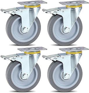 Peakfeng 4 stuks, universele wielen met rem, rubberen meubelwielen, 360deg; rotatie, stille wielen, verzinkt, wiegwielen, ...