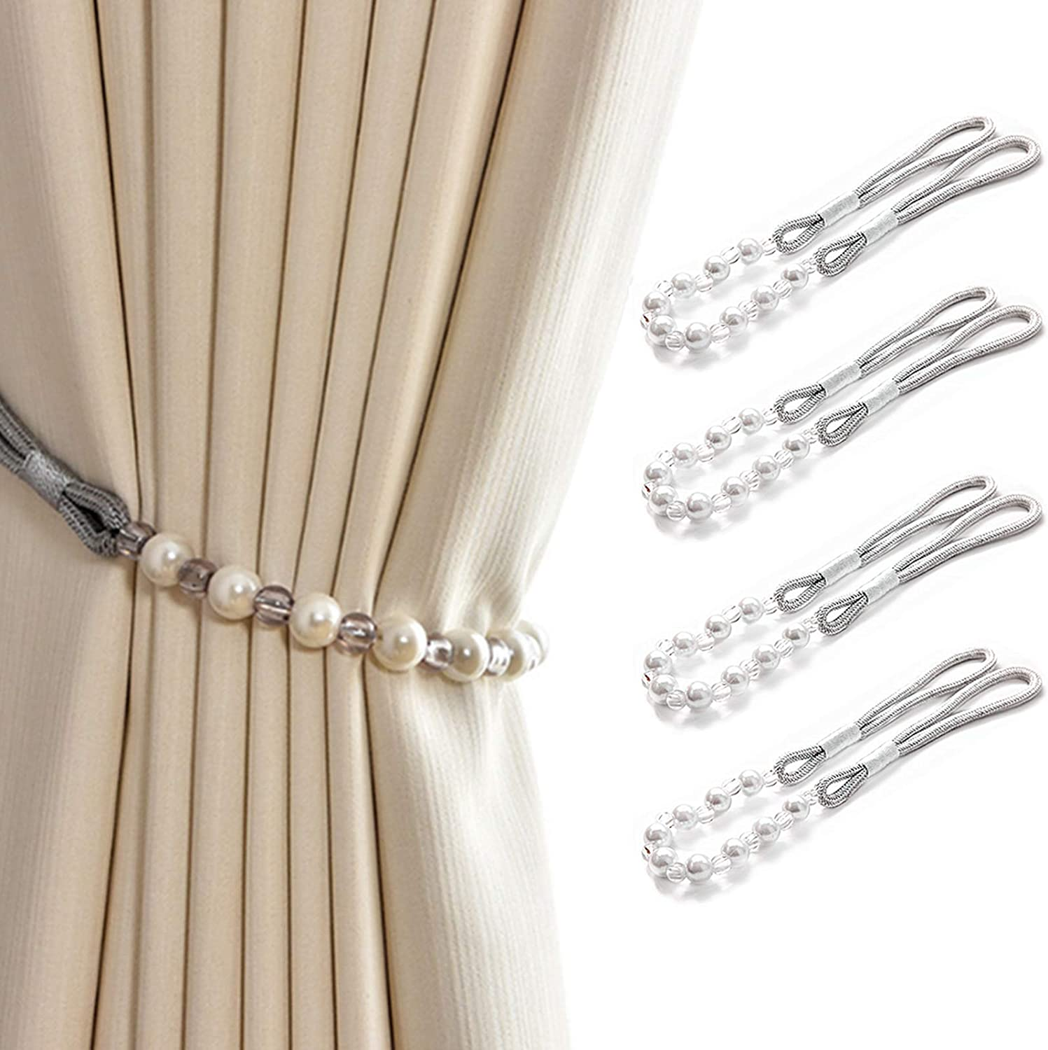SWTOOL 4PCS Artificial Ranking integrated 1st place Pearls Curtain Holdbacks Beads Elegant Fashionable S