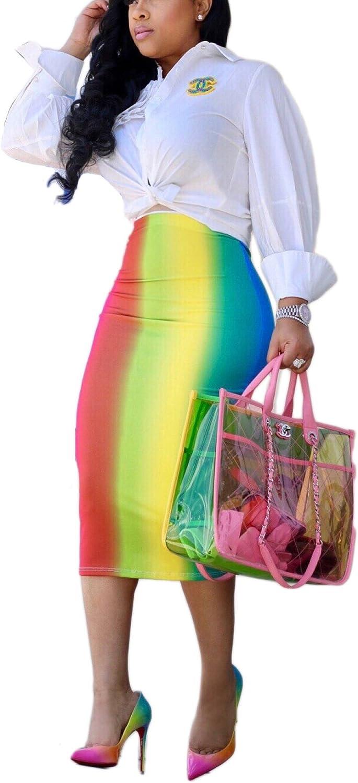 Bluewolfsea Women Casual Stretch High Waist Tie Dye Striped Bodycon Midi Pencil Skirt