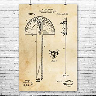 Protractor T-Square Poster Print, Architect Gifts, Drafting Tools, Carpenter Gifts, Graphic Designer, Garage Workshop Vintage Paper (11
