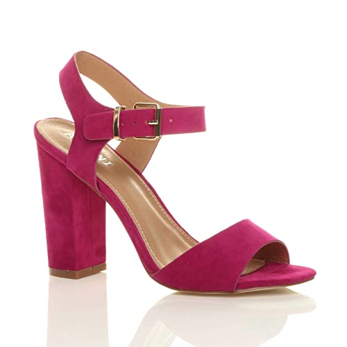 cd8e5a10262 Ajvani Womens Ladies high Block Heel Ankle Strap Buckle peep Toe Shoes  Sandals Size