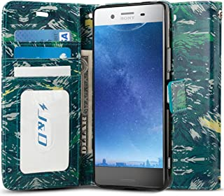 J&D Case Compatible for Xperia XZ Premium Case, [Wallet Stand] [Slim Fit] Heavy Duty Protective Shock Resistant Flip Cover Wallet Case for Sony Xperia XZ Premium Wallet Case - Camouflage