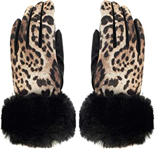 Ladies Womens Lagenlook Leopard Print Faux Fur Cuff Touch Screen Winter Gloves