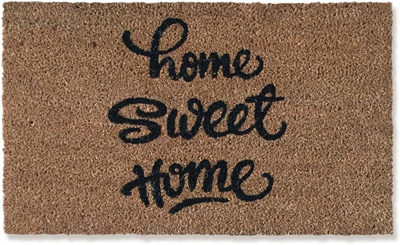 JIAJUAN Front Doormat Non-Slip Heavy Duty Welcome PVC Backing Natural Coir Entrance Floor Mat Indoor Outdoor, 20mm, 2 Sizes (color   Brown, Size   45x75cm)