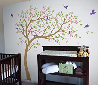 Large Tree Wall Decals Wall Tattoo Large Nursery Tree Decals Wall Mural Removable Vinyl Wall Sticker KW032R (Light Brown, Lime-Tree Green, Soft Pink, Lavender)